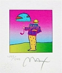 "Cosmic Umbrella Man, Ltd Ed Lithograph (Mini 3.5"" x 3""), Peter Max, SIGNED"