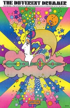 Different Drummer, Signed Original 1968 Vintage Offset Lithograph Psychedelic