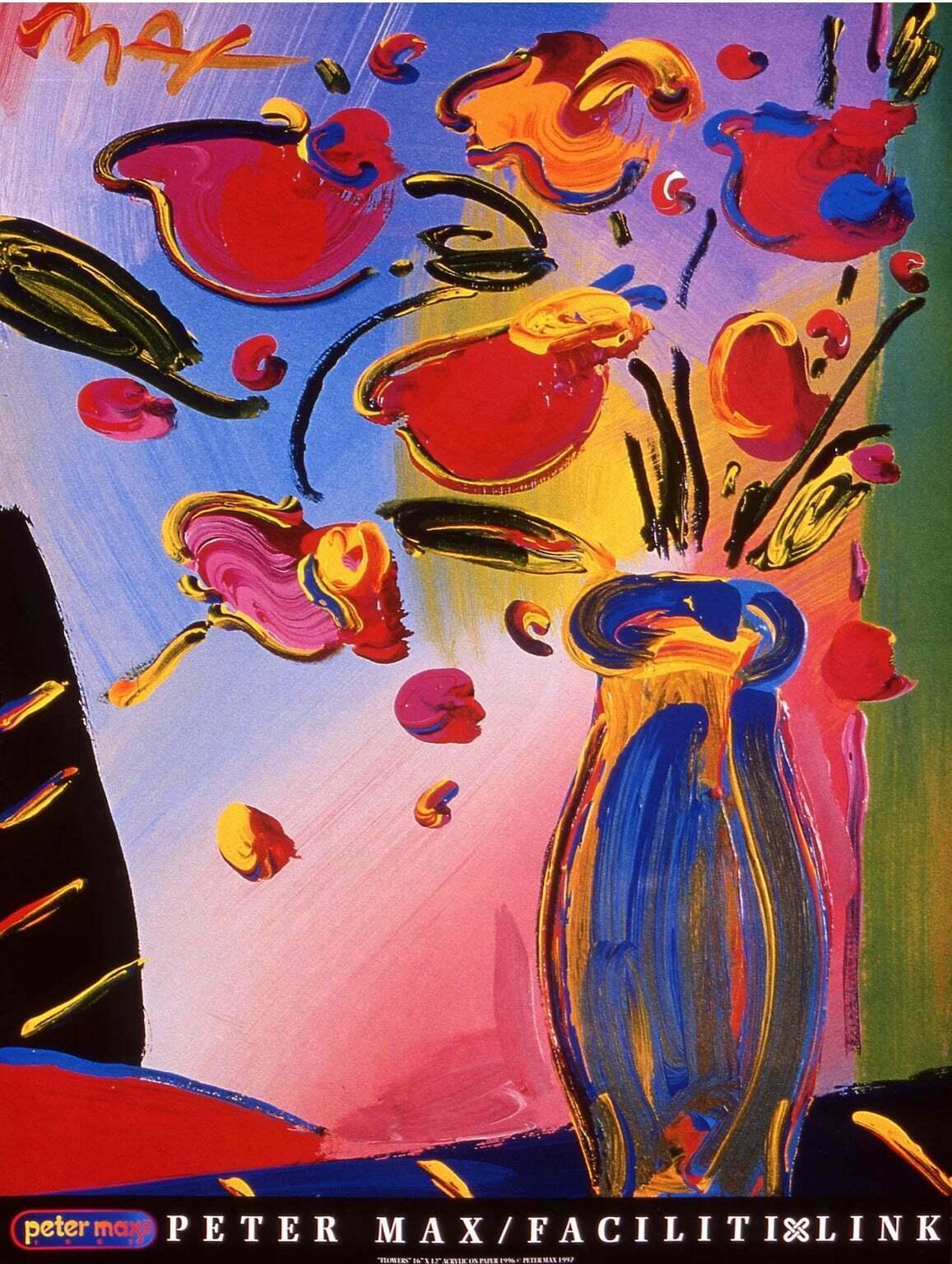 FACILITI-LINK FLOWERS, Original 1997 Lithograph, Peter Max -SIGNED