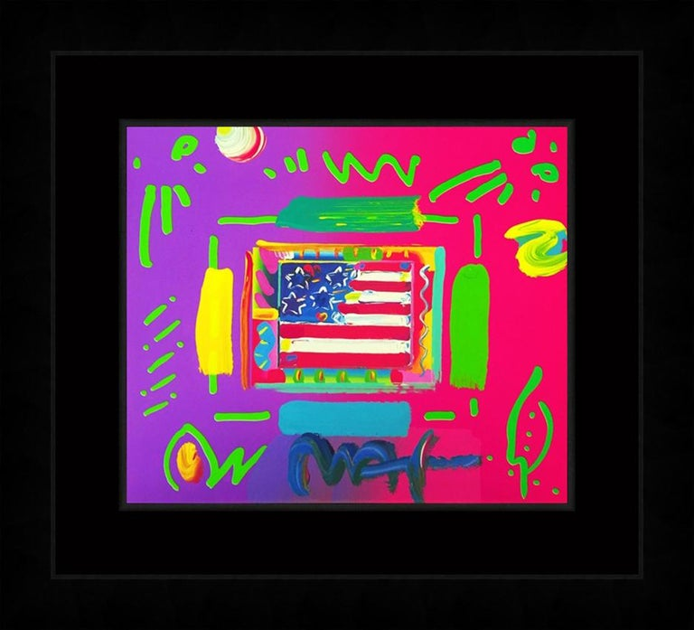 FLAG (OVERPAINT) - Pop Art Mixed Media Art by Peter Max
