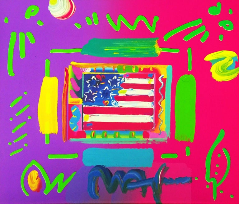 FLAG (OVERPAINT) - Mixed Media Art by Peter Max