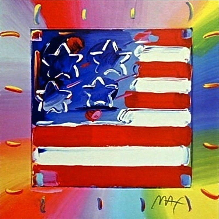 Peter Max Landscape Print - Flag with Heart III