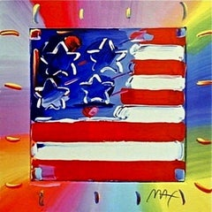 Flag with Heart III, Limited Edition Lithograph, Peter Max - SIGNED
