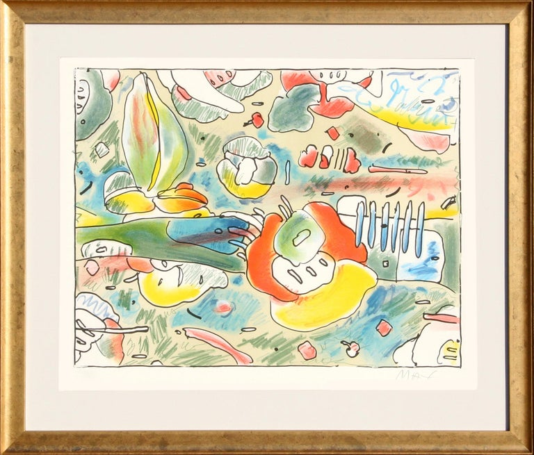 Peter Max Flower Abstract Lithograph By Peter Max