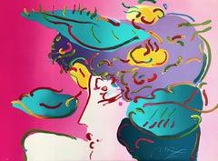 FLOWER SPECTRUM II Signed Lithograph, Goddess Woman Portrait Pink, Green, Yellow