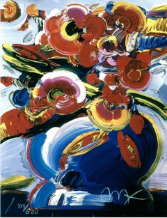 Flowers In Blue Vase III, Ltd Edition Lithograph, Peter Max - SIGNED