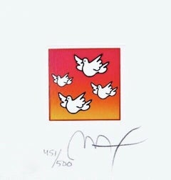 """Flying Doves, Limited Edition Litho (Mini 4.875"""" x 4.5""""), Peter Max SIGNED"""