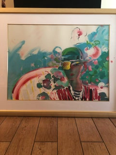 French Zero Girl Friend - Limited Edition Lithograph by Peter Max