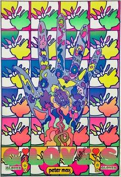 Gloves, Signed Original 1969 Vintage Offset Lithograph Psychedelic