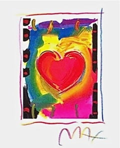 """Heart Series I, Limited Edition Lithograph Mini 5"""" x 4"""" Peter Max SIGNED"""