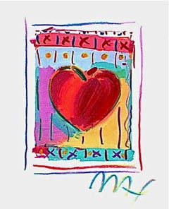"""Heart Series II Limited Edition Lithograph Mini 5"""" x 4"""" Peter Max SIGNED"""