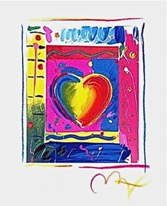 """Heart Series III, Limited Edition Lithograph Mini 5"""" x 4"""" Peter Max SIGNED"""