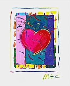 """Heart Series IV, Limited Edition Lithograph Mini 5"""" x 4"""" Peter Max SIGNED"""