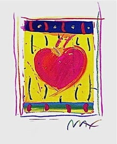 """Heart Series VI Limited Edition Lithograph Mini 5"""" x 4"""" Peter Max - SIGNED"""
