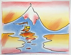HIMALAYAN  VALLEY Signed Lithograph, Pop Art Landscape, Mountain, Water, Boat