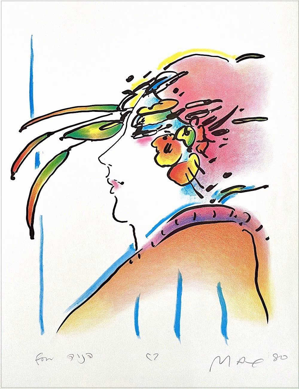 LADY WITH FEATHERS Signed Lithograph, Woman's Face Profile, Exotic Feather Hat