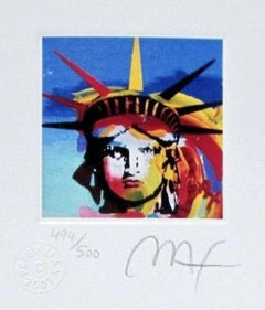"Liberty Head III, Ltd Ed Lithograph (Mini 3.5"" x 3""), Peter Max - SIGNED"