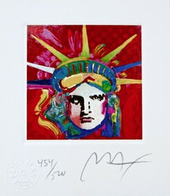 "Liberty Head IV, Ltd Ed Lithograph (Mini 3.5"" x 3""), Peter Max - SIGNED"