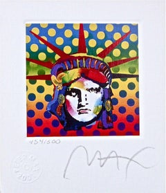 "Liberty Head V, Ltd Ed Lithograph (Mini 3.5"" x 3""), Peter Max - SIGNED"