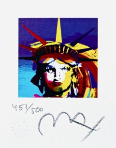 "Liberty Head VII Mini 3.43"" x 2.62"" Limited Edition Litho Peter Max SIGNED"