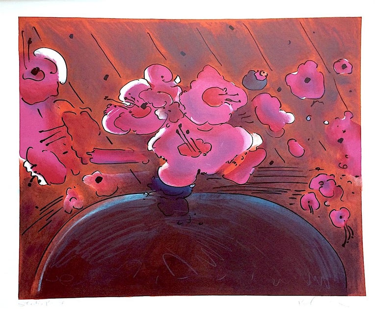 MARILYN'S FLOWERS II, Signed Lithograph, Abstract Floral, Magenta Pink, Brown - Print by Peter Max