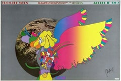 Moon Landing, Signed Original 1969 Vintage Offset Lithograph Psychedelic