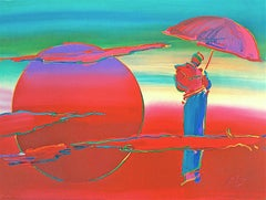 NEW MOON Signed Lithograph, Red Moon, Monk, Purple, Pink Umbrella, Meditation