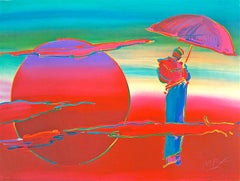 New Moon, Signed Lithograph, Meditation Monk w/ Umbrella, Red Moon Rising
