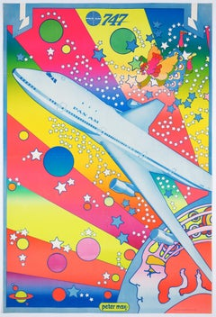 Original Vintage Airline Pop Art Poster –Pan Am, Boeing747