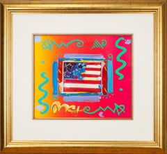 "Peter Max ""Flag with Heart"" Acrylic Overpaint Lithograph Signed Framed"