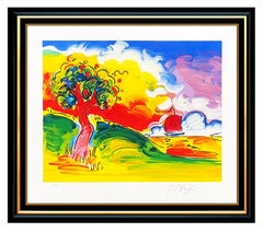 Peter Max Large Quiet Lake Color Serigraph Hand Signed Pop Artwork Sunset Sail