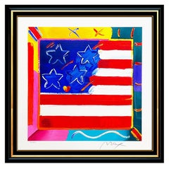 Peter Max Large Flag With Heart Color Serigraph Hand Signed Pop Art Iconic Rare