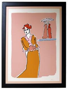Peter Max Original 1970s Serigraph Women Umbrella Rare Framed