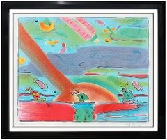 Peter Max Original Color Lithograph Hand Signed Sailboats Vintage Pop Artwork