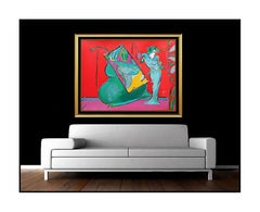 PETER MAX Original Color Silkscreen Large Hand Signed Lady Red Vase Flowers Art