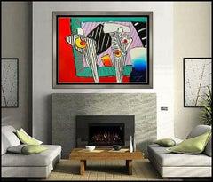Peter Max Time Line Dega Man Large Color Screenprint Hand Signed Pop Artwork SBO