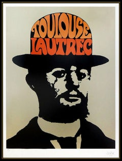 Peter Max Toulouse Lautrec Large Color Screenprint Hand Signed Modern Pop Art