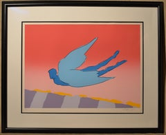 Pink Sky Flyer - Limited Edition Serigraph by Peter Max