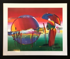 Rainbow Umbrella Man In Reeds - Limited Edition Lithograph by Peter Max