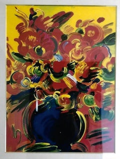 Red Flower - Limited edition Serigraph by Peter Max