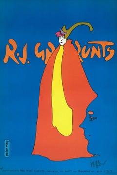 R.J. Grunts, Signed Original 1969 Vintage Offset Lithograph Psychedelic