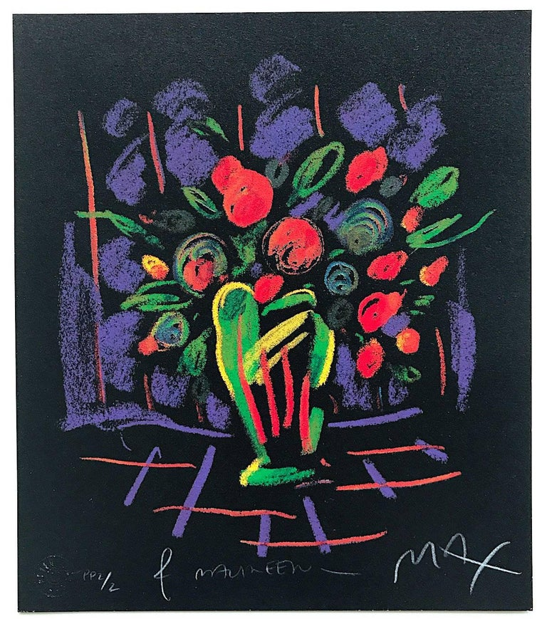 Peter Max Still-Life Print - Romance Suite I: Flowers, Signed Limited Edition, Fluorescent colors on Black