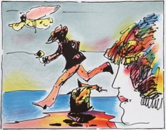 Runner and Flying Sage - Limited Edition Serigraph by Peter Max