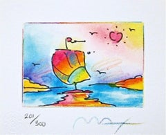 "Sailboat Series II, Ltd Ed Litho (Mini 4.75"" x 5.75""), Peter Max - SIGNED"