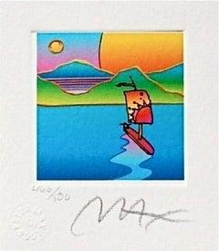 "Sailboat w/ Sun & Moon, Ltd Ed Lithograph Mini 3.5"" x 3"" Peter Max SIGNED"