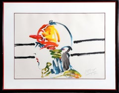 The Jockey, Pop Art lithograph by Peter Max 1981