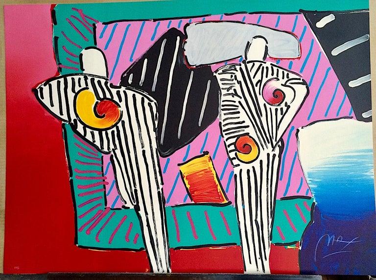 TIMELINE DEGA MAN Signed Lithograph, Abstract Portrait, Stripes, Pop Art 1