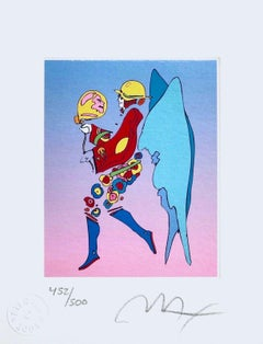 "Tip Toe Floating I Limited Edition Litho Mini 6"" x 4.75"" Peter Max SIGNED"