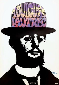 Toulouse Lautrec, Signed Original 1967 Vintage Offset Lithograph Psychedelic