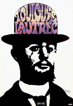Toulouse Lautrec, Signed Original 1967 Vintage Offset Lithograph Psychedelic